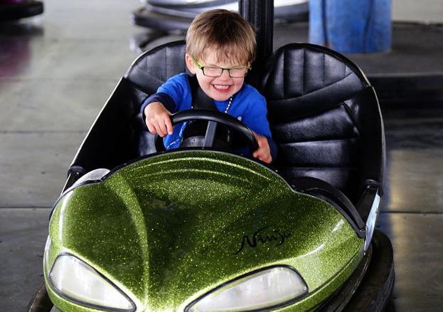 Boy in bumper car
