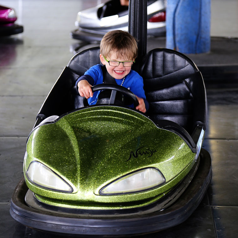 Boy on bumper car at Calaway Park